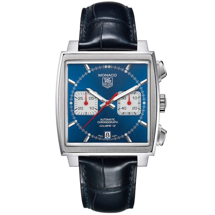 Tag Heuer Men's CAW2111.FC6183 Monaco Calibre 12 Chronograph Automatic Black Leather Watch