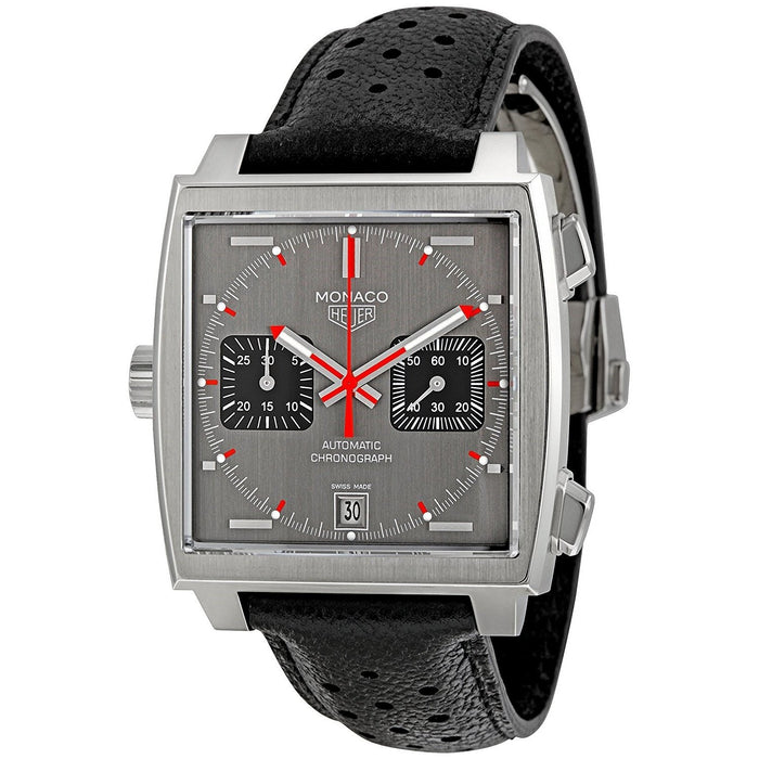 Tag Heuer Men's CAW211B.FC6241 Monaco Chronograph Automatic Black Leather Watch