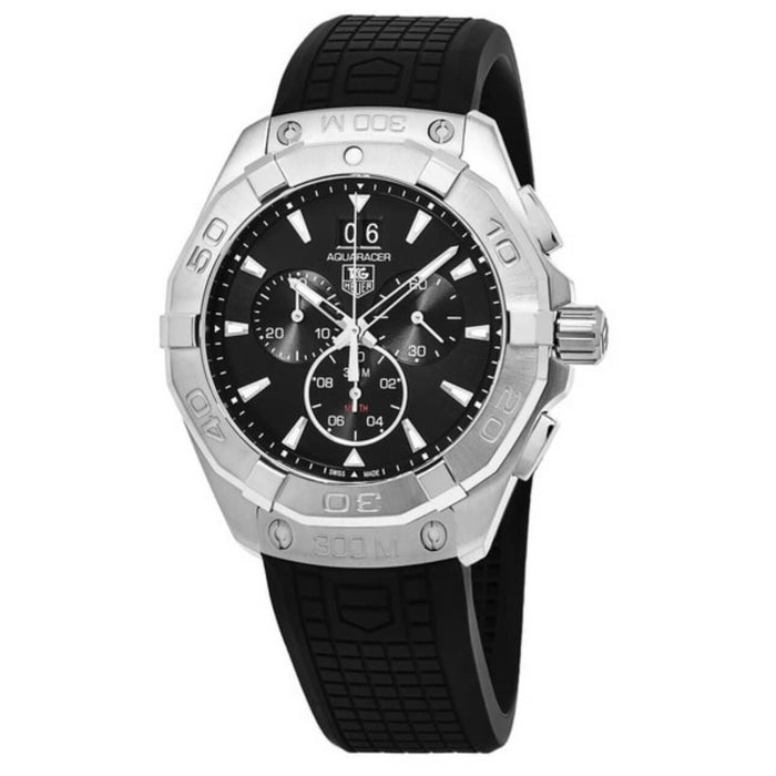 on sale f2a86 a69ad Tag Heuer Men's CAY2110.FT6041 Aquaracer Chronograph Black Rubber Watch