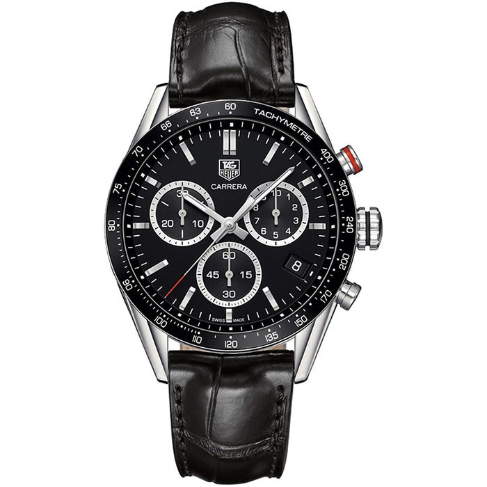 Tag Heuer Men's CV1A10.FC6235 Carrera Chronograph Black Leather Watch