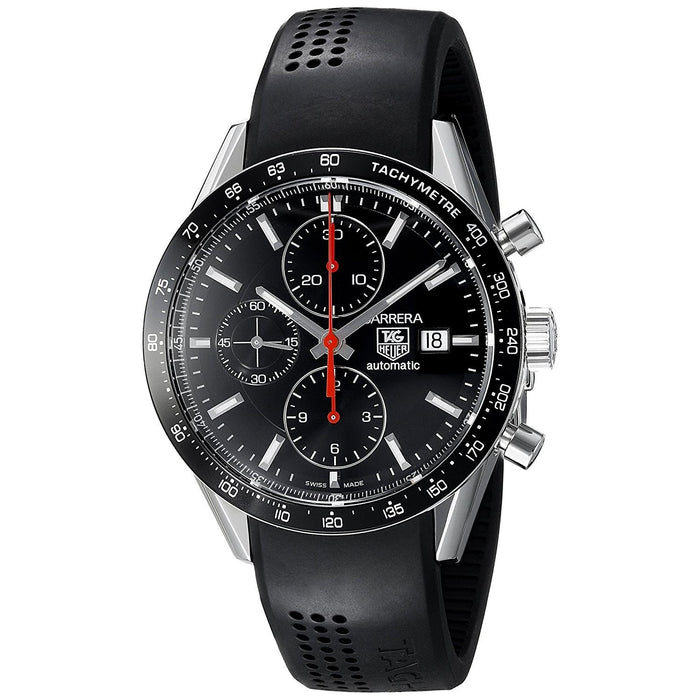 Tag Heuer Men's CV2014.FT6014 Carrera Chronograph Automatic Black Rubber Watch