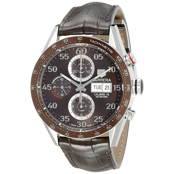 Tag Heuer Men's CV2A12.FC6236 Carrera Chronograph Automatic Brown Leather Watch