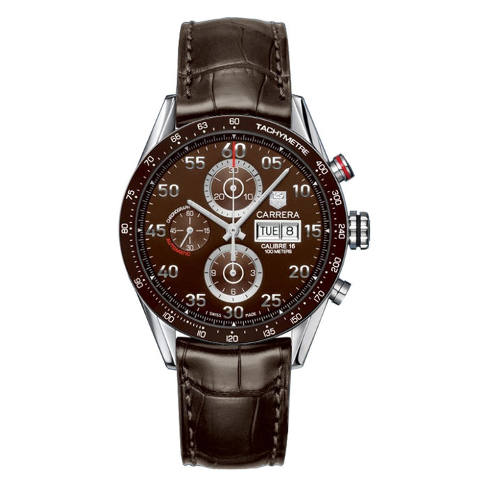 Tag Heuer Men's CV2A1S.FC6236 Carrera Limited Edition Chronograph Automatic Brown Alligator Leather Watch
