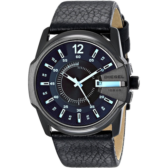 Diesel Men's DZ1657 Mega Chief Black Leather Watch