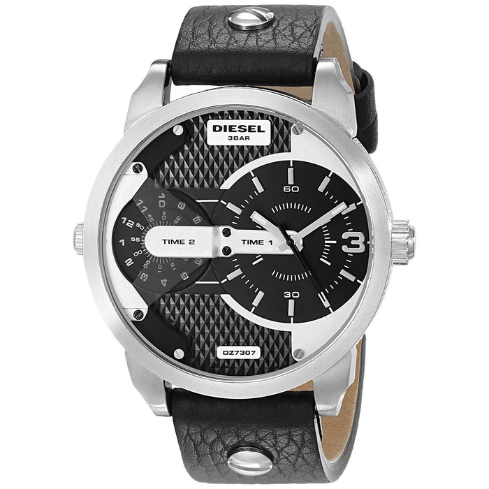 Diesel Men's DZ7307 Mini Daddy Dual Time Black Leather Watch