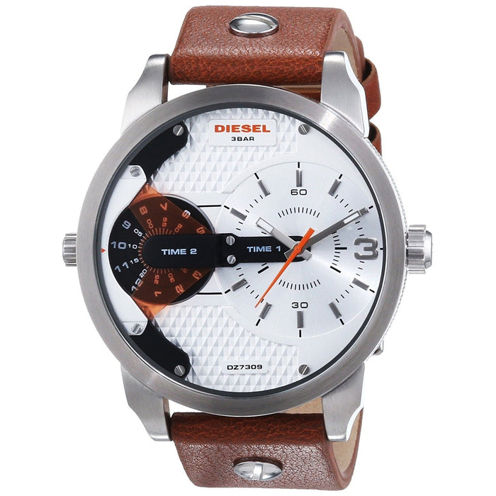 Diesel Men's DZ7309 Mini Daddy Dual Time Brown Leather Watch