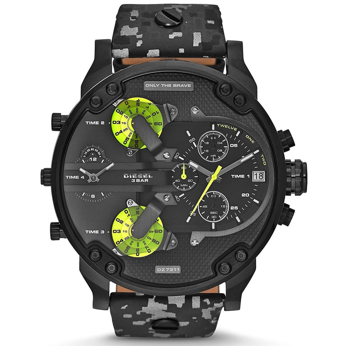Diesel Men's DZ7311 Mr. Daddy 2.0 Chronograph 4 Time Zones Black Leather Watch