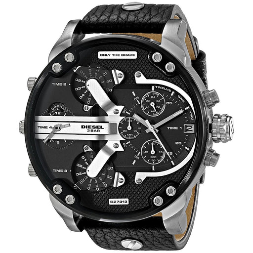 Diesel Men's DZ7313 Mr. Daddy 2.0 Chronograph 4 Time Zones Black Leather Watch