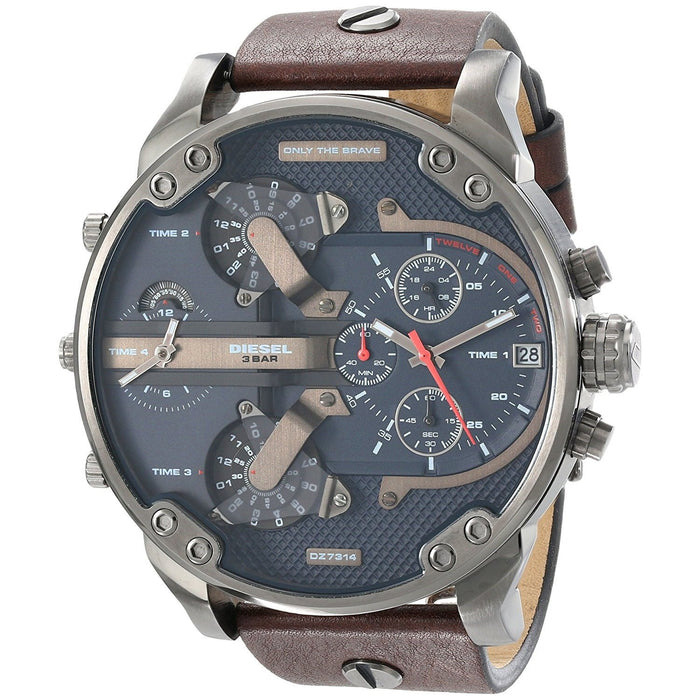 Diesel Men's DZ7314 Mr. Daddy 2.0 Chronograph 4 Time Zones Brown Leather Watch