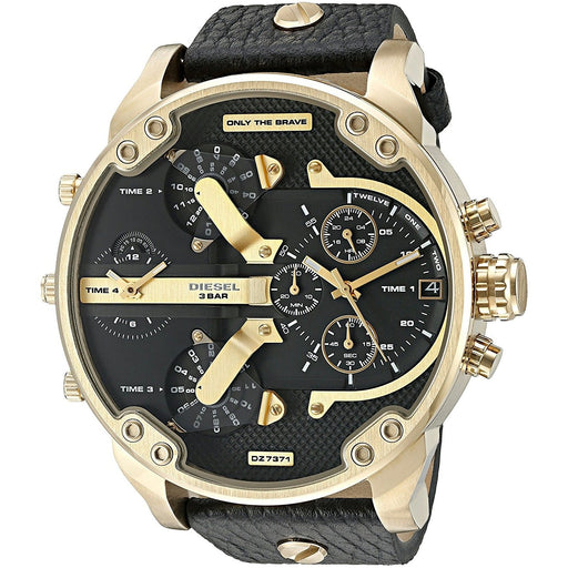 Diesel Men's DZ7371 Mr. Daddy 2.0 Chronograph 4 Time Zones Black Leather Watch