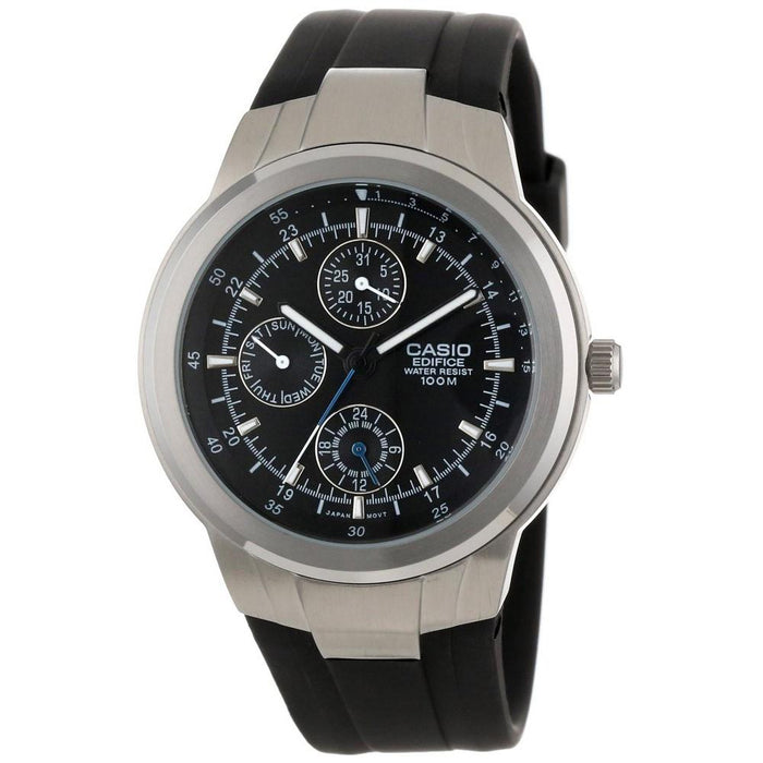 Casio Men's EF-305-1AV Classic Chronograph Black Rubber Watch