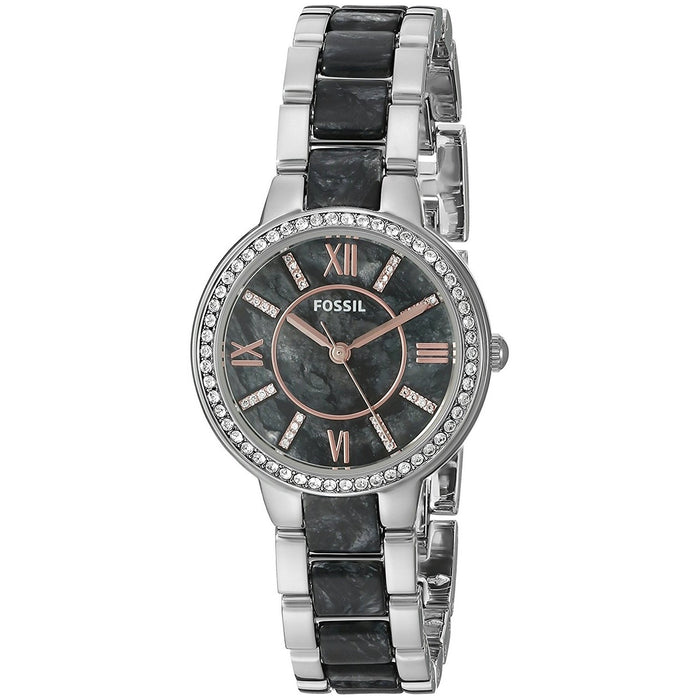 Fossil Women's ES3918 Virginia Crystal Two-Tone Stainless Steel Watch