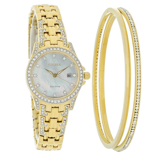 Citizen Women's EW1222-64D Silhouette Gold-Tone Stainless Steel with Sets of Crystal Watch