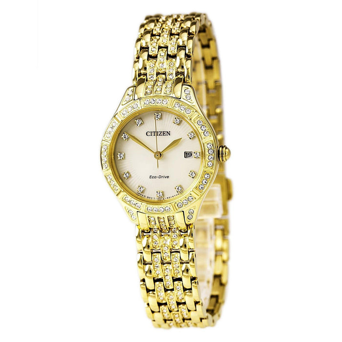 Citizen Women's EW2322-50P Silhouette Gold-Tone Stainless Steel with Sets of Crystal Watch