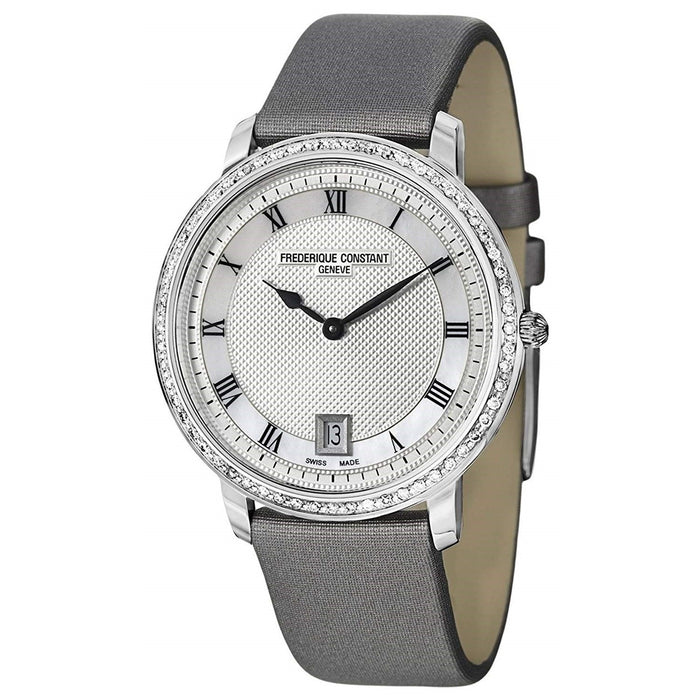 Frederique Constant Women's FC-220M4SD36 Slim Line Diamond Grey Leather Watch