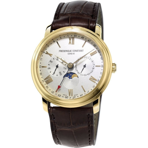 Frederique Constant Men's FC-270SW4P5 Business Timer Brown Leather Watch