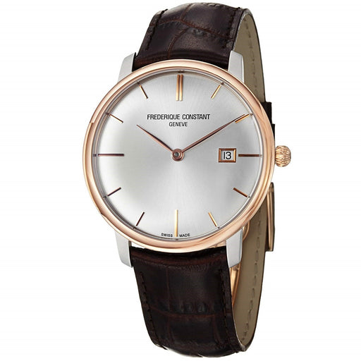 Frederique Constant Men's FC-306V4STZ9 Slimline Brown Leather Watch