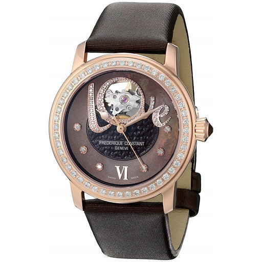 Frederique Constant Women's FC-310CLHB2PD4 Heartbeat Diamond Brown Satin Watch