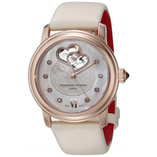 Frederique Constant Women's FC-310WHF2PD4 Heartbeat Diamond White Satin Watch