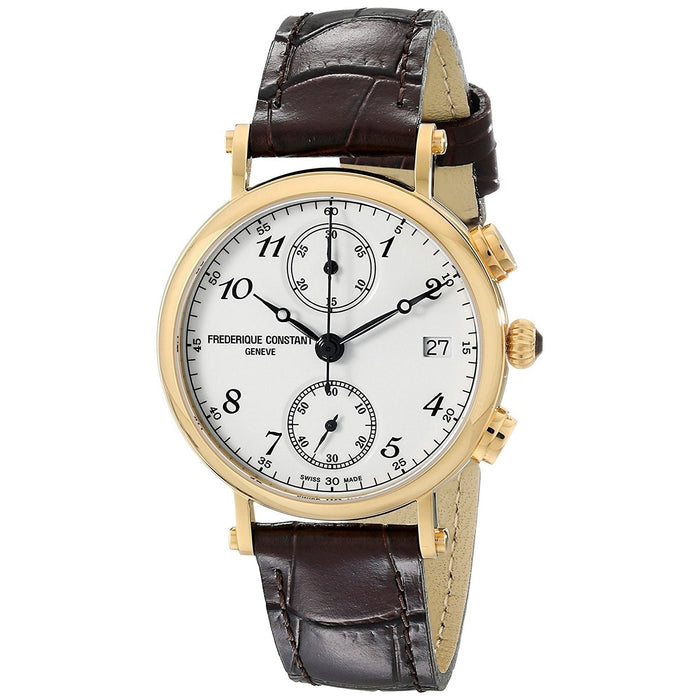 Frederique Constant Women's FC291A2R5 Classics Chronograph Brown Leather Watch