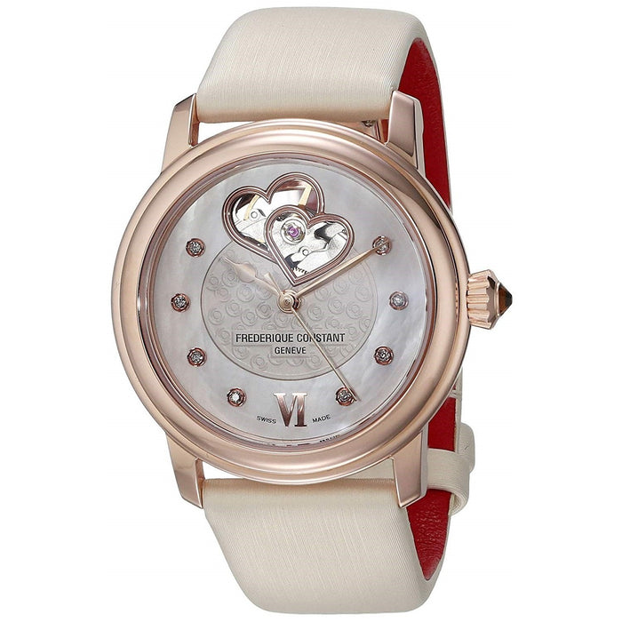 Frederique Constant Women's FC310WHF2PD4 Heartbeat Diamond White Satin Watch