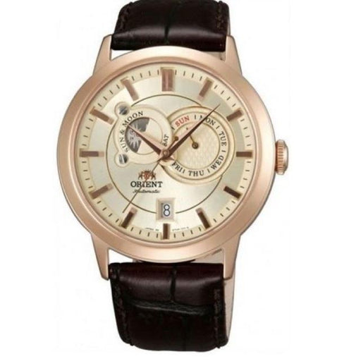 Orient Men's FET0P001W0 Sun and Moon Moonphase Automatic Brown Leather Watch