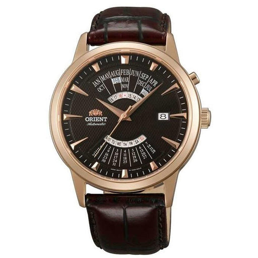 Orient Men's FEU0A001TH Perpetual Calendar GMT World Time Brown Leather Watch