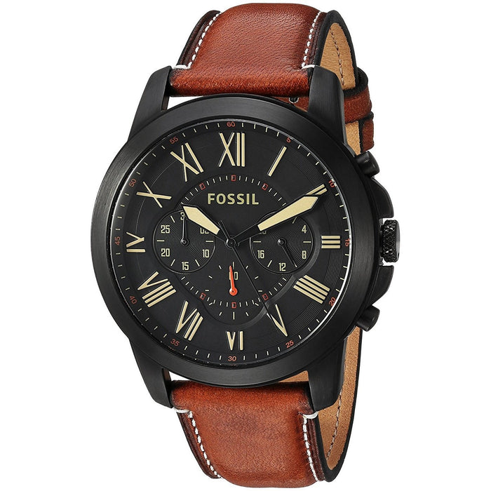 Fossil Men's FS5241 Grant Sport Chronograph Brown Leather Watch