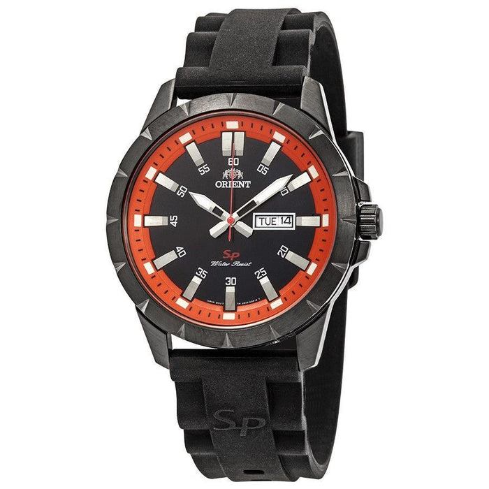 Orient Men's FUG1X009B9 SP Day Date Black Silicone Watch