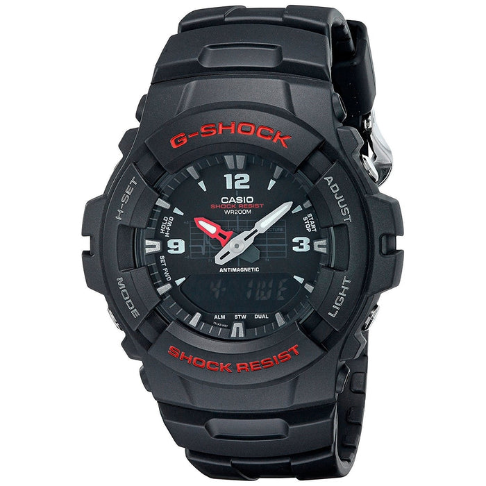 Casio Men's G100-1B G-Shock Analog-Digital Black Resin Watch