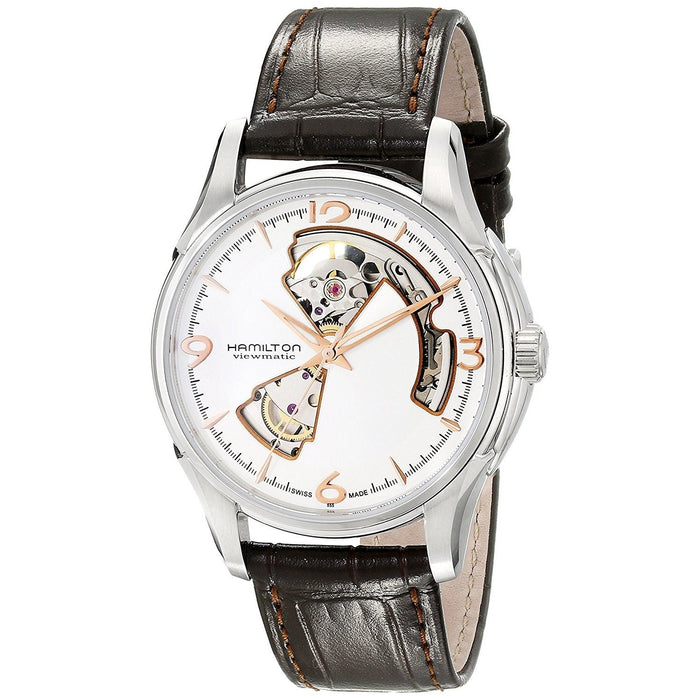 Hamilton Men's H32565555 Jazzmaster Viewmatic Open Heart Automatic Brown Leather Watch