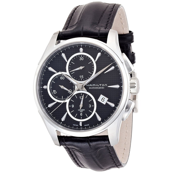 Hamilton Men's H32596731 Jazzmaster Chronograph Automatic Black Leather Watch