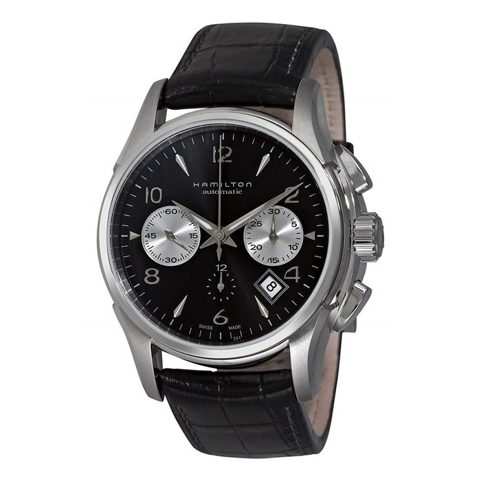 Hamilton Men's H32656833 Jazzmaster Chronograph Automatic Black Leather Watch