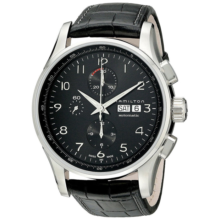 Hamilton Men's H32716839 Jazzmaster Chronograph Automatic Black Leather Watch