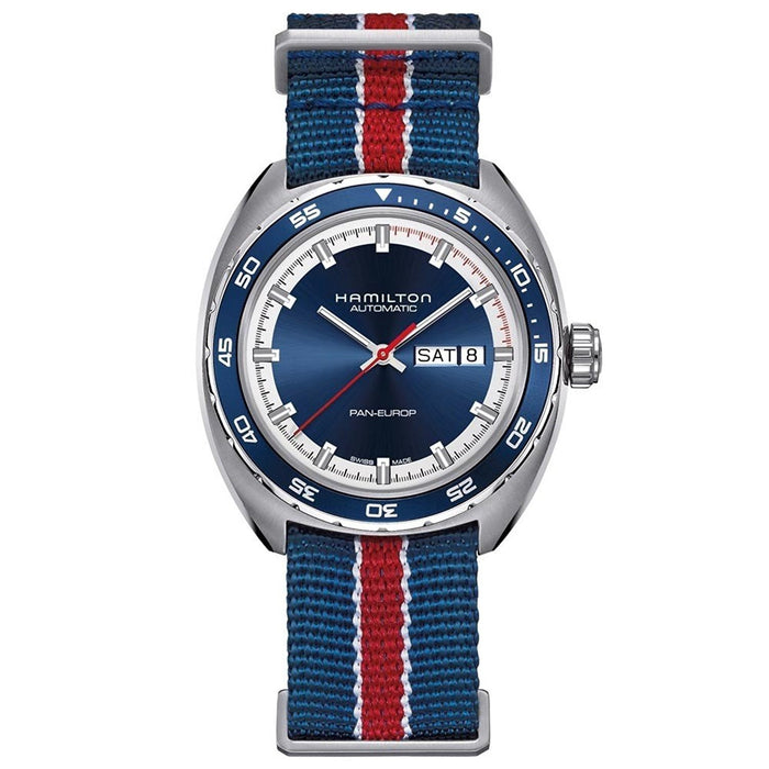 Hamilton Men's H35405741 Timeless Pan Europ Automatic Two Bands Blue red and black Canvas and leather Watch