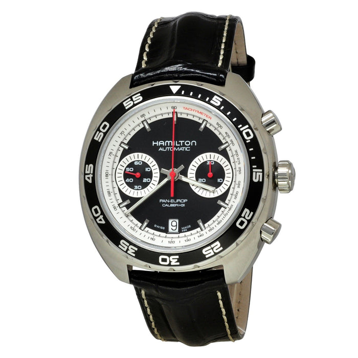 Hamilton Men's H35756735 Pan Europ Chronograph Automatic Black Leather Watch