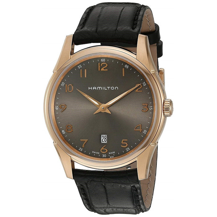 Hamilton Men's H38541783 Jazzmaster Thinline Black Leather Watch