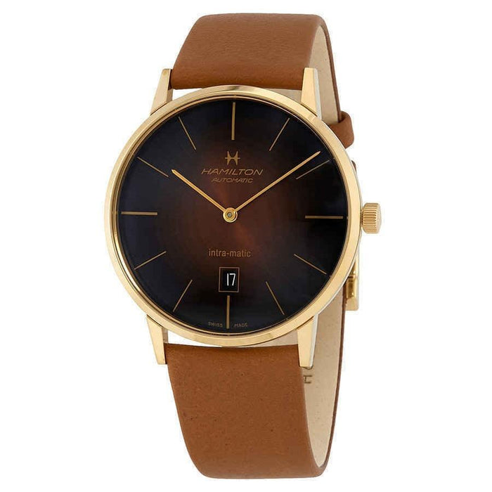 Hamilton Men's H38735501 Jazzmaster Intra-Matic Brown Leather Watch
