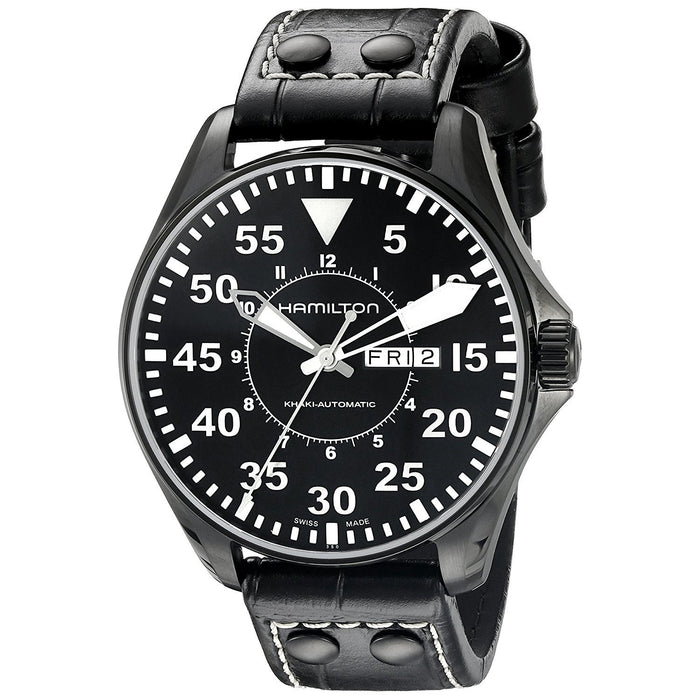 Hamilton Men's H64785835 Khaki King Pilot Automatic Black Leather Watch