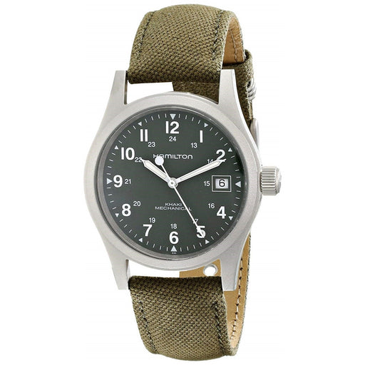 Hamilton Men's H69419363 Khaki Field Mecahnical Hand Wind Green Canvas Watch