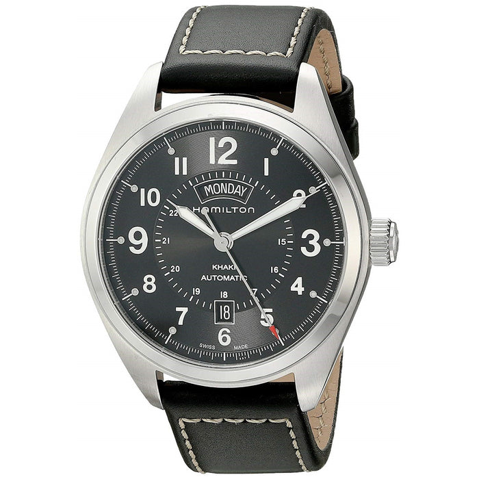 Hamilton Men's H70505733 Khaki Field Automatic Black Leather Watch