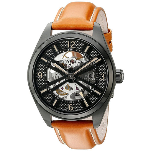 f2ff51e13af Hamilton Men s H72585535 Khaki Field Skeleton Automatic Brown Leather Watch