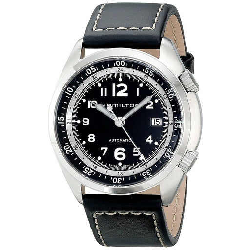 Hamilton Men's H76455733 Khaki Aviation Automatic Black Leather Watch