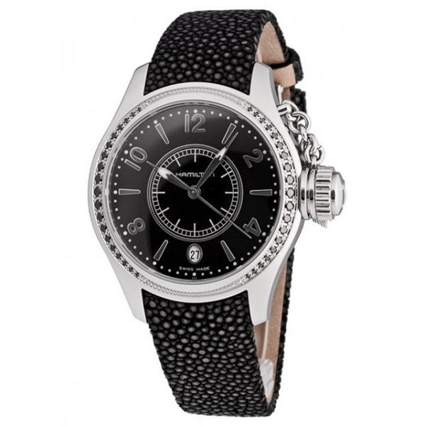 Hamilton Women's H77351935 Khaki Navy Seaqueen Diamond Black Leather Watch