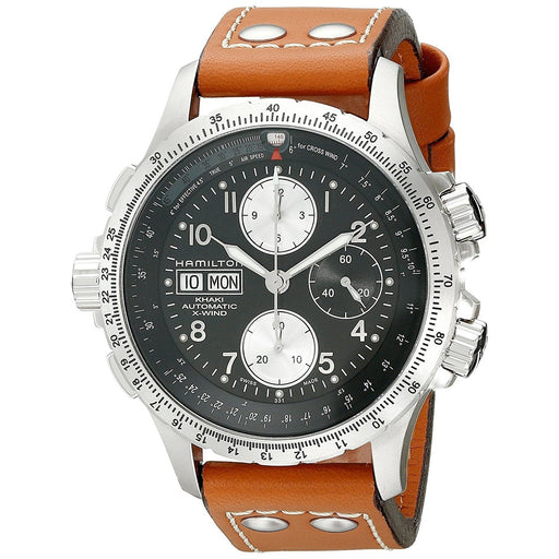 Hamilton Men's H77616533 Khaki X Wind Chronograph Air Speed Scale Automatic Brown Leather Watch
