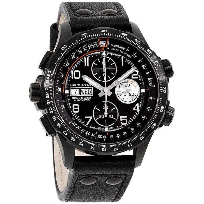 Hamilton Men's H77736733 Khaki Aviation X-Wind Chronograph Automatic Black Leather Watch