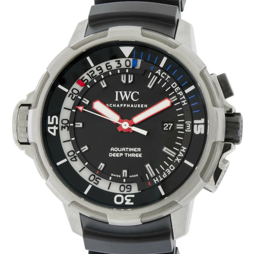IWC Men's IW355701 Aquatimer Deep Three Black Rubber Watch