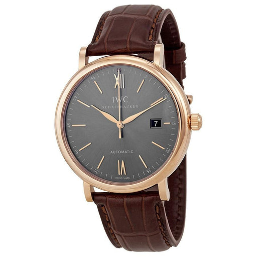 IWC Men's IW356511 Portofino Automatic Brown Leather Watch
