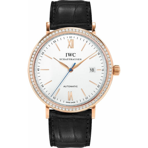 IWC Men's IW356515 Portofino Black Leather Watch