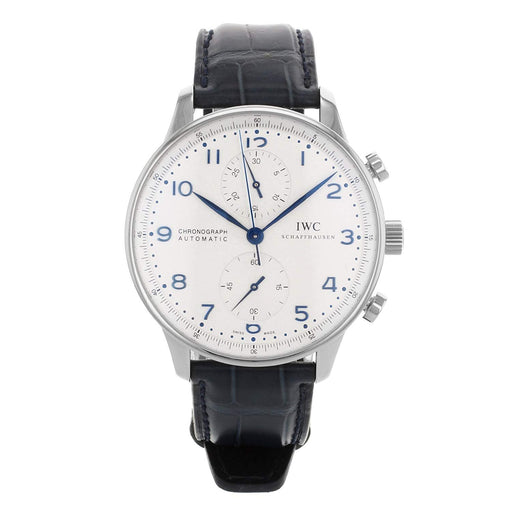 IWC Men's IW371446 Portuguese Chronograph Automatic Blue Leather Watch